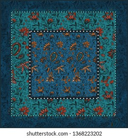 Ornate digital pattern of floral motifs for scarf. Floral elements silhouettes. Fairytale nature style. Rustic flourish design for surfaces