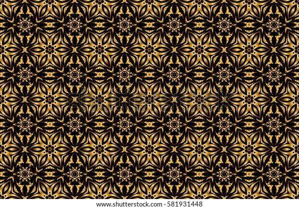 Ornate golden decor for fabric. Traditional arabic ornament with golden elements on black backdrop. Raster seamless pattern with golden vintage design in Eastern style. Ornamental lace tracery.