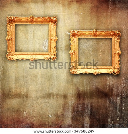 98fb9c3cc48 Ornate golden frame at the concrete wall with clipping path for the inside