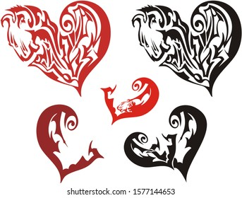 Ornate hearts symbols with lion and bird elements. Abstract red and black hearts created of lion and bird head for St. Valentine's Day
