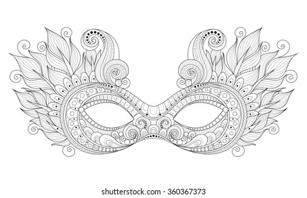 Ornate Monochrome Mardi Gras Carnival Mask with Decorative Feathers. Object for Greeting Cards, Isolated on White Background