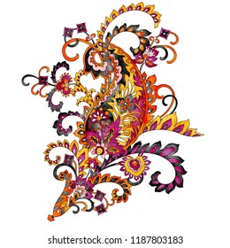 Ornate paisley pattern isolated on white background, vintage ethnic design element