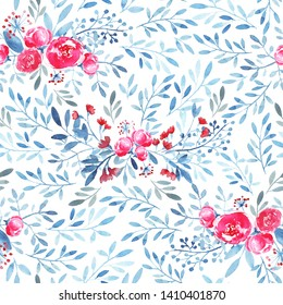 Ornate pattern with rose bouquet, branches, leaves, berries. Rose, blue, colors. White background. Modern watercolor