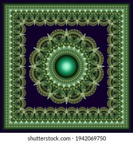 Ornate radiating kaleidoscopic fractal ornament