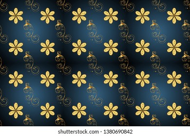 Ornate raster decoration. Seamless damask pattern background for wallpaper design in the style of Baroque. Golden pattern on blue and gray colors with golden elements.