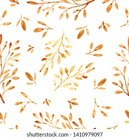 Ornate seamless pattern with  golden ink floral branches.  Loose watercolor style.