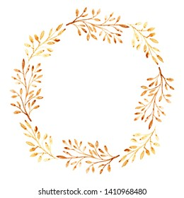 Ornate wreath with floral golden branches. Place for text