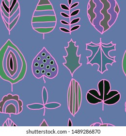 Ornavental graphics leaves with pink contour on blue grey background seamless pattern for all prints on hand darwing style.
