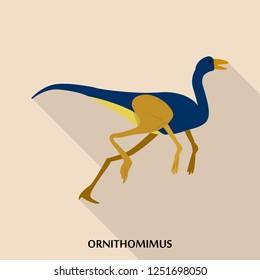 Ornithomimus icon. Flat illustration of ornithomimus icon for web design
