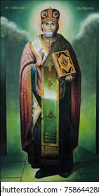 Orthodox icon Saint Nicholas the Wonderworker. Oil painting, canvas.