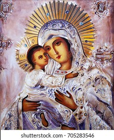 Orthodox Icon of the Virgin Mary with the Child Jesus. Canvas, oil.
