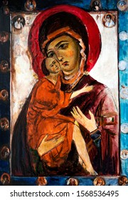 Orthodox Icon of the Virgin Mary with the Jesus. Canvas, oil.