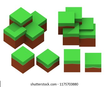 Orthographic ground minecraft lowpoly 3d illustration