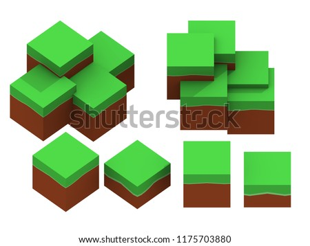Orthographic ground minecraft lowpoly