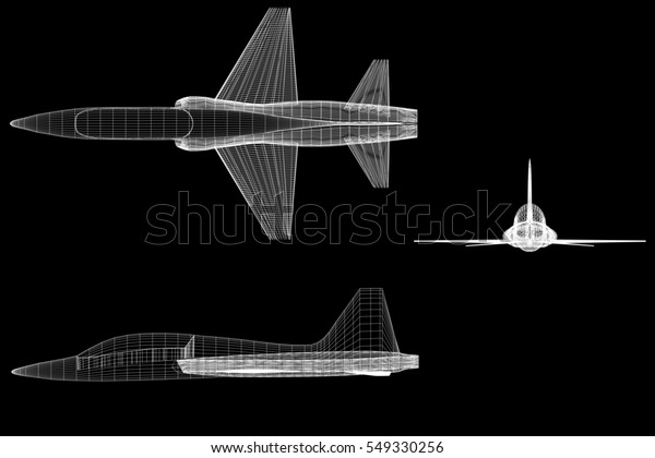 Orthographic Views Side Front Top Aircraft Stock Illustration 549330256