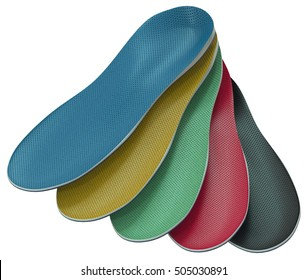 Orthotics - custom made shoe inserts isolated on white. 3D rendering