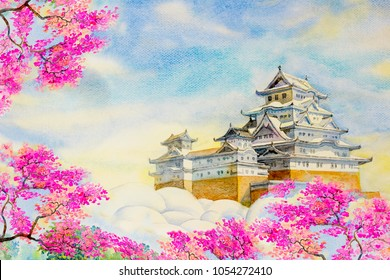 Osaka Castle Sakura; Spring cherry blossoms and the main tower of the UNESCO world heritage site: Himeji Castle, also called the white heron castle, Japan. Watercolor painting landscape illustration.