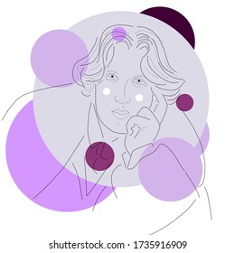 Oscar Wilde graphic portrait line art in purple violet color with graphic circles