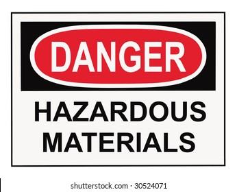 OSHA danger hazardous materials warning sign isolated on white