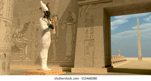 Osiris Statue in Pharaoh Temple 3D Illustration - Osiris in Pharaoh's temple was known as an Egyptian god of the afterlife and resurrection.