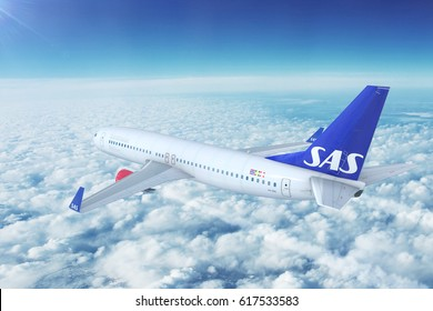 OSLO, NORWAY - APRIL 6, 2017: A SAS Scandinavian Airlines Boeing 737-800 on approach on April 6th, 2017 in Oslo, Norway. 3d illustration