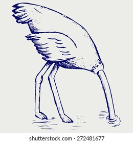 Ostrich burying its head in sand. Doodle style. Raster version