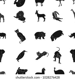Ostrich emu, crocodile, giraffe, tiger, penguin and other wild animals. Artiodactyla, mammalian predators and animals set collection icons in black style raster,bitmap symbol stock illustration web.