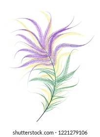 Ostrich feather painted in violet, green, yellow color on a white background. Festival Mardi Gras.