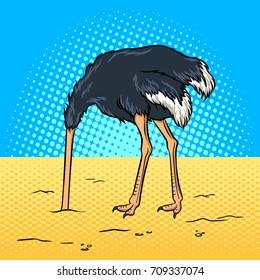 Ostrich hide head in sand pop art retro raster illustration. Avoiding problems metaphor. Comic book style imitation.