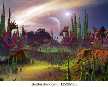 Otherworldly plant life growing on an alien planet in a distant universe.