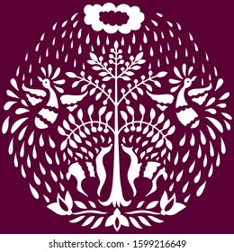 Otomi Style Circle Pattern. White animals on Purple Background
