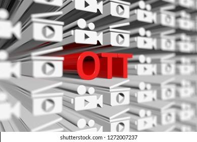 OTT concept blurred background 3d render illustration