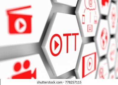 OTT concept cell blurred background 3d illustration