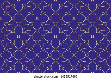 Ottoman Pattern Background. Golden raster ornamental seamless pattern in traditional Asian style Luxury antique design.