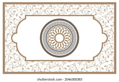 Ottoman and Turkish motifs for stretch ceiling decoration. tulip pattern on white background. 3d decorative golden round ornament and frame.