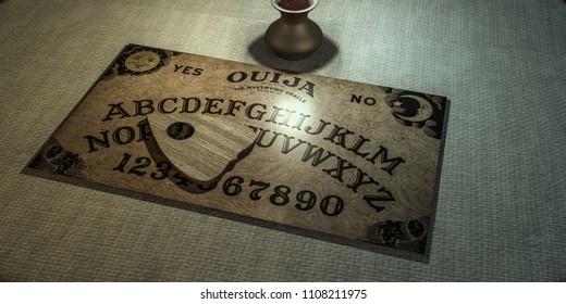 ouija table in a dark room 3d illustration