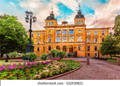 Oulu City Hall (Oulun kaupungintalo) is the seat for the municipal government of the City of Oulu, Finland. Oil painting effect.