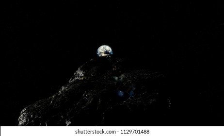 Oumuamua Comet moving through space toward earth, threatening image with stars, Realistic and detailed astroid, comet surface, 3D render