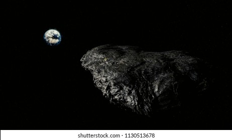 Oumuamua Comet moving through space toward earth, threatening image with stars in background, Realistic and detailed, discovered by Pan-STARRS, 3D Render