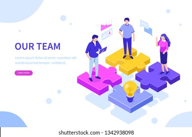 Our team concept with puzzle. Can use for web banner, infographics, hero images. Flat isometric illustration isolated on white background.