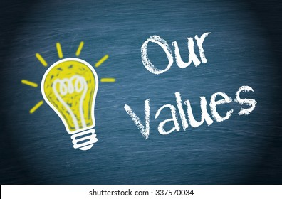 Our Values - yellow light bulb with text on blue background