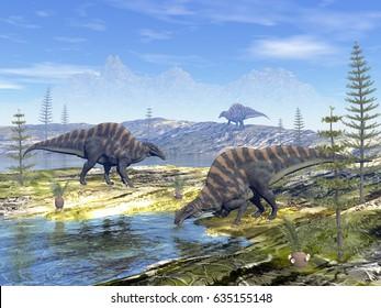 Ouranosaurus dinosaurs - 3D render