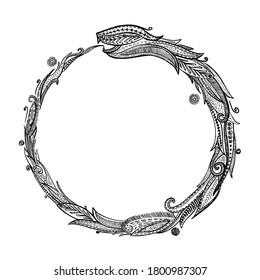 Ouroboros logotype, snake eating its own tail, eternity esoteric symbol, rasterized version