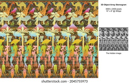 Out of Africa 3D Object Array Stereogram Illusion