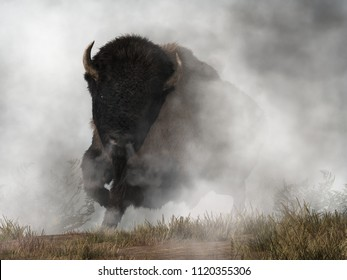 Out of the fog emerges a menacing form. A mountain of dark fur, horns and steaming breath, a massive buffalo (American Bison) stampedes towards you.  3D Rendering