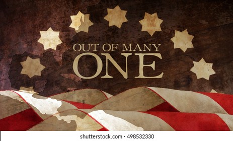 Out of Many One. From Latin E Pluribus Unum. USA motto. Stars and Stripes