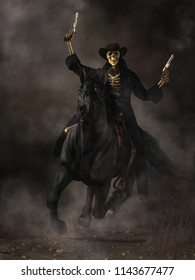 Out of the mists, rides a vision of fear and terror.  A skeleton gunslinger rides a galloping black horse. The frightening specter wears all black and brandishes smoking pistols. 3D Rendering