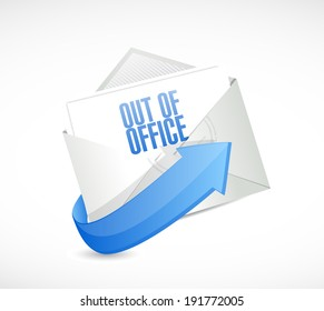out of office reply email envelope illustration design over a white background