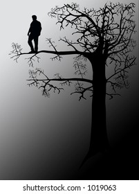 Out on a limb. Conceptual, illustration.