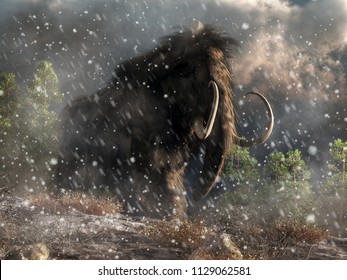 Out of the swirling snow trudges a massive hairy beast. The woolly mammoth is one of the best known of the Pleistocene megafauna.  This animal is stuck in a blizzard. 3D Rendering